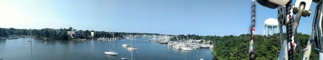 SPA CREEK FROM ALOFT. WATERGATE VILLAGE AND PORT ANNAPOLIS MARINA RIGGERS
