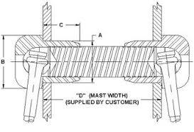 Navtec K150 Tang for sailboat mast, C & C rod rigging