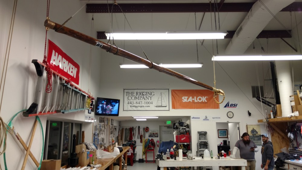 The Memorial Gaff Spar at The Rigging Company. Rest in Peace Sean Simmons and Paul Itzel