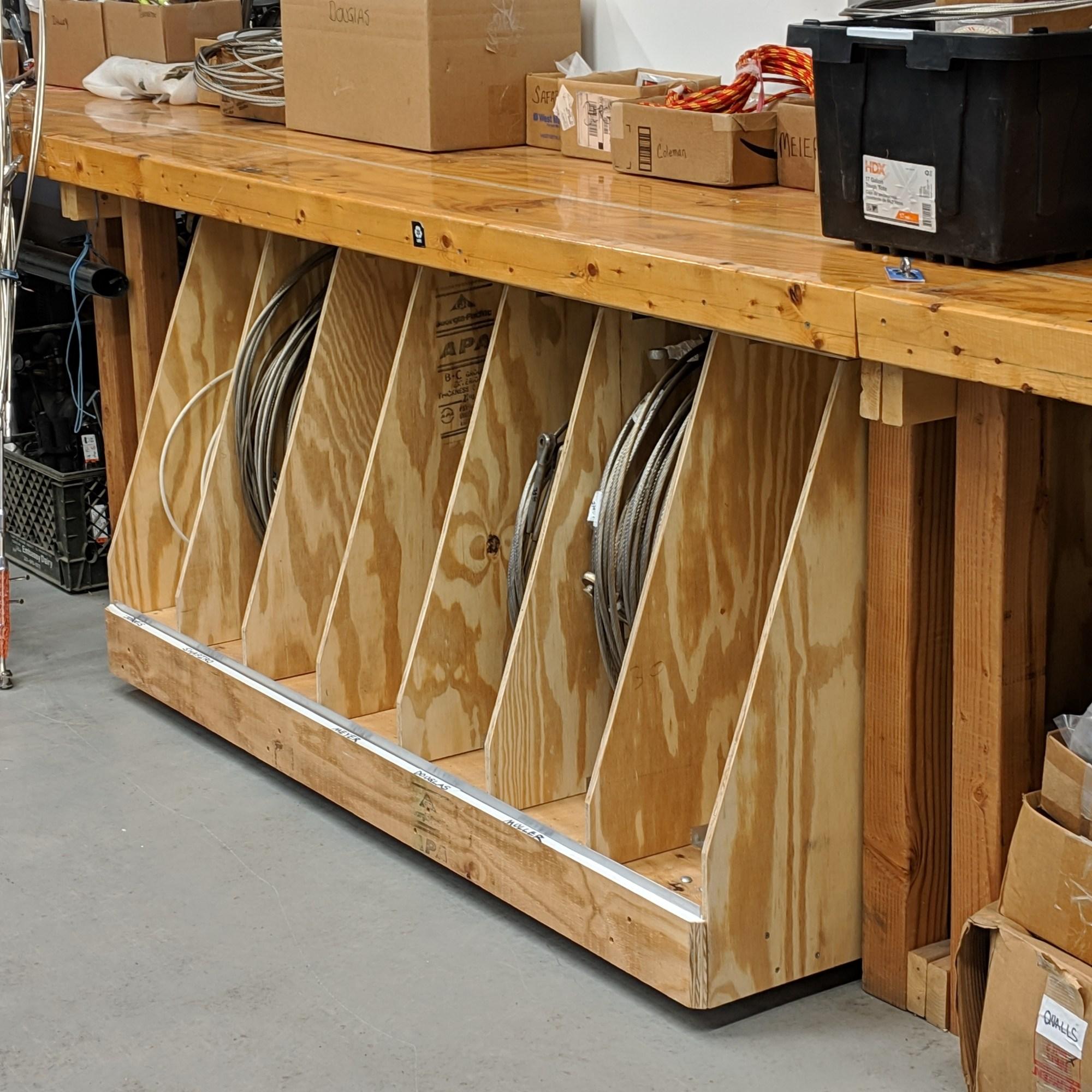 New rolling wire rigging storage box. The rigging company.