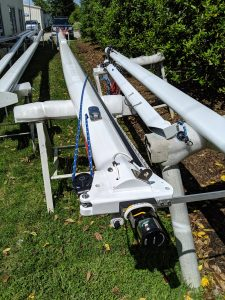 Morgan OI 41 ready for spreaders and rigging