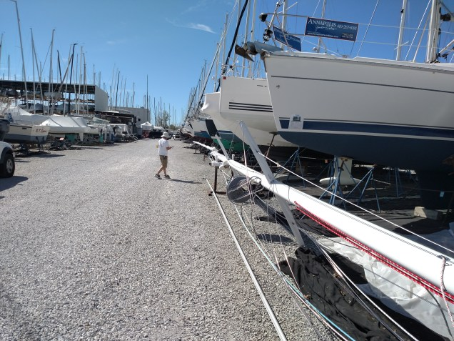 Sabre 38. New Paint Job. New Harken Traveler. New Running Rigging. New BSI Rod Rigging. New Deck Collar and Mast Base Turning Block Pad Eyes. Reconfigure Boom Preventer System, TRC Style. New 3rd Reef Line. Reconfigure Single Line Reef System. Custom Leather Spreader Boots and Turnbuckle Covers.