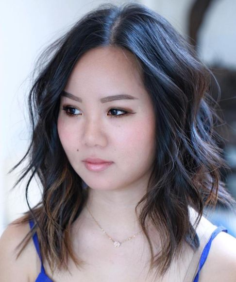 Medium Layered Hairstyle For Round Face