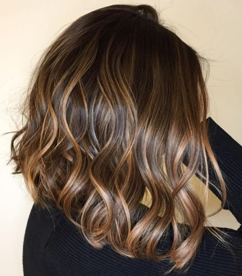 Wavy Dark Brown Hair With Caramel Highlights