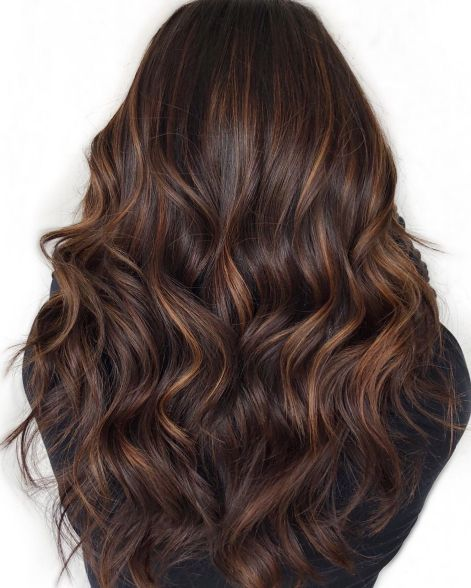 Subtle Caramel Highlights For Chocolate Hair