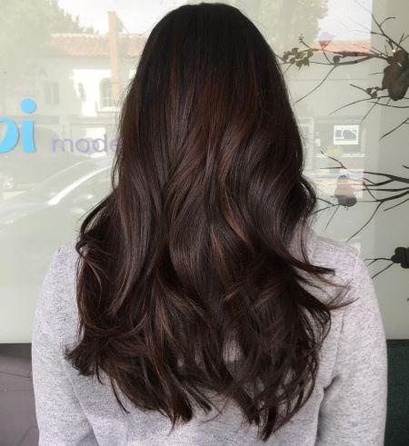 Black Hair with Subtle Brown Balayage