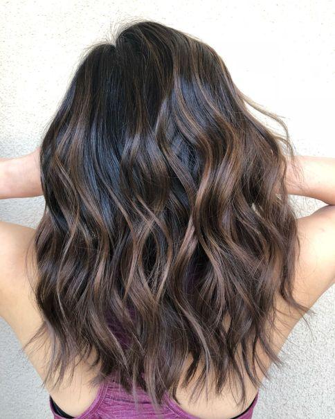 Cinnamon Brown Wavy Balayage Hairstyle