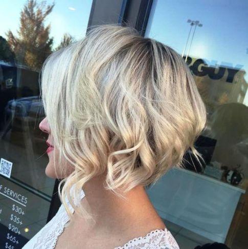 angled wavy blonde bob