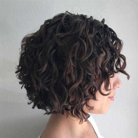 Curly Brunette Bob