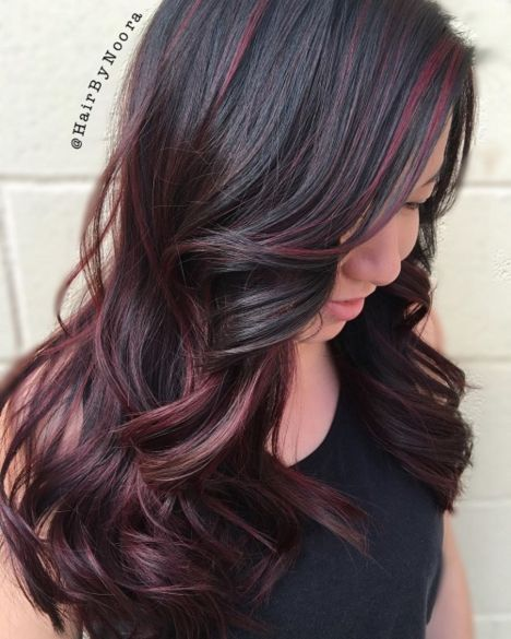 Burgundy Balayage For Dark Brown Hair