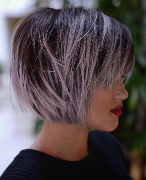 Pastel Purple Balayage For Brown Bob