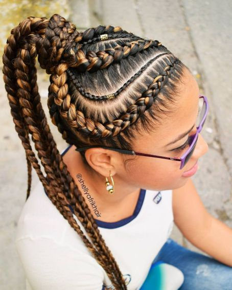Brown And Caramel Goddess Braids In Wrapped Ponytail