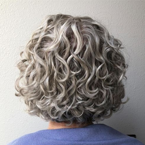 Gray Curly Bob Haircuts For Women Over 50
