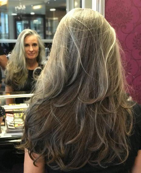 Long Layered Haircut For Graying Hair