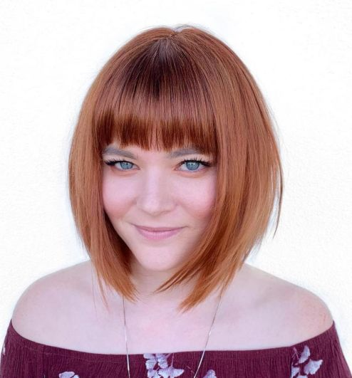 A-Line Bob With Straight Bangs For Round Faces