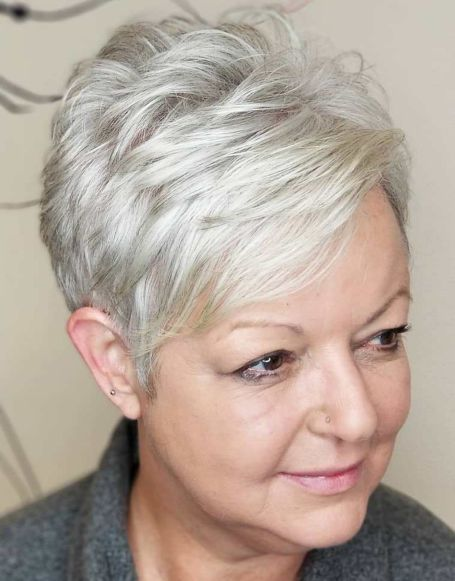 Textured Gray Pixie Hairstyle