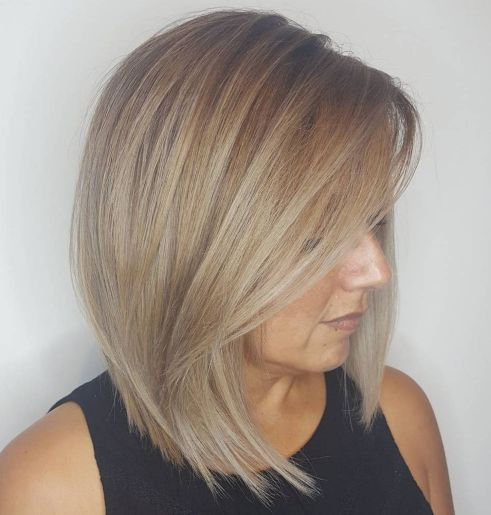 Ash Blonde Lob With Long Swoopy Bangs