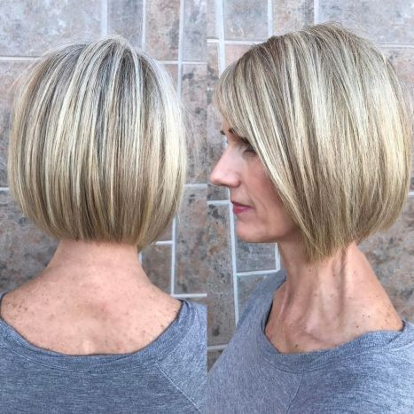 Subtly Angled Bob For Straight Hair