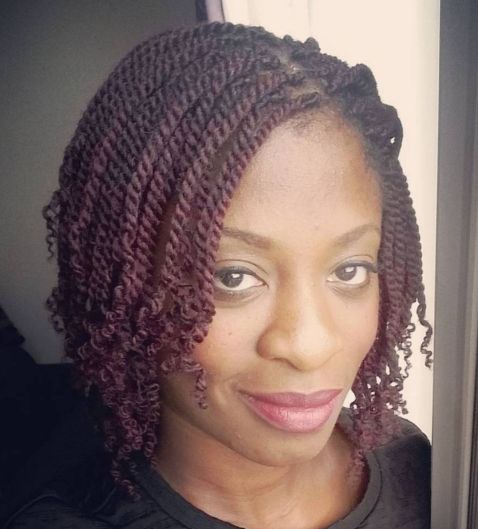 Burgundy Short Kinky Twists