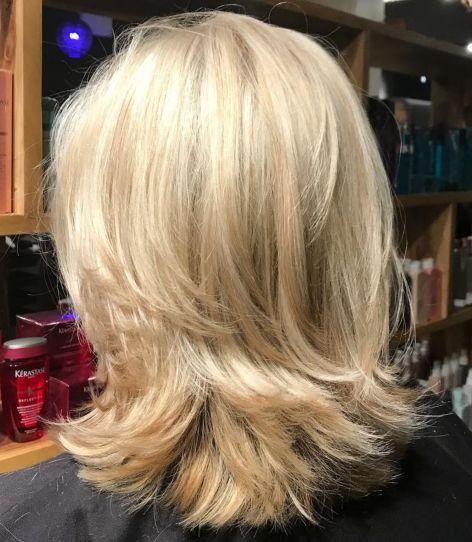 Shoulder-Length Blonde Layered Cut