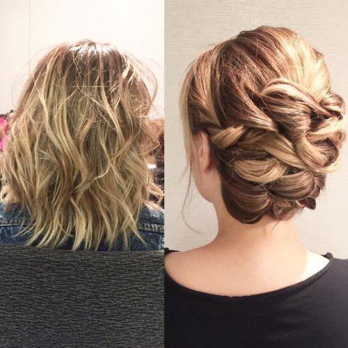 Twisted Updo For Fine Medium Length Hair
