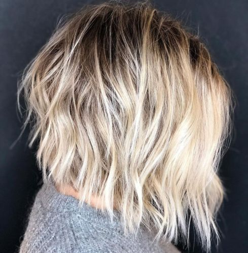 Blonde Shaggy Bob With Root Shadow