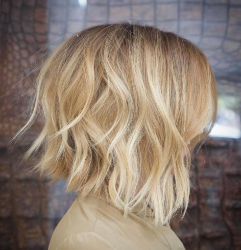 Honey Blonde Choppy Bob