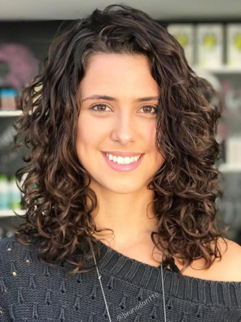 Medium Length Brown Curly Haircut