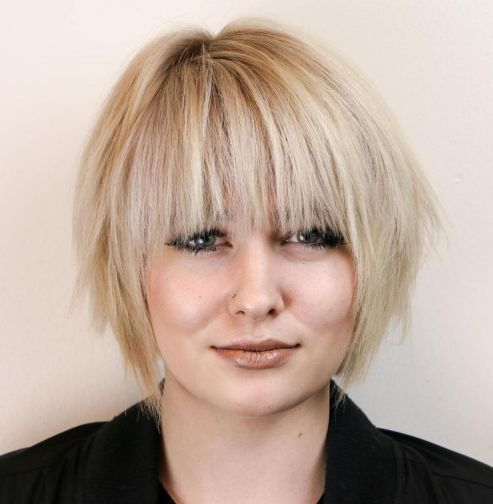 Razored Bob With Bangs For Round Faces