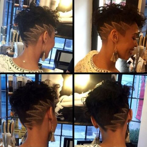 short asymmetrical black haircut with undercut and design