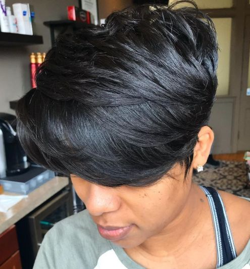 Black Thick Layered Pixie With Bangs