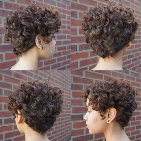 Brown Curly Pixie Hairstyle
