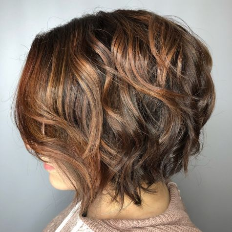 Stacked Brown Bob With Caramel Highlights