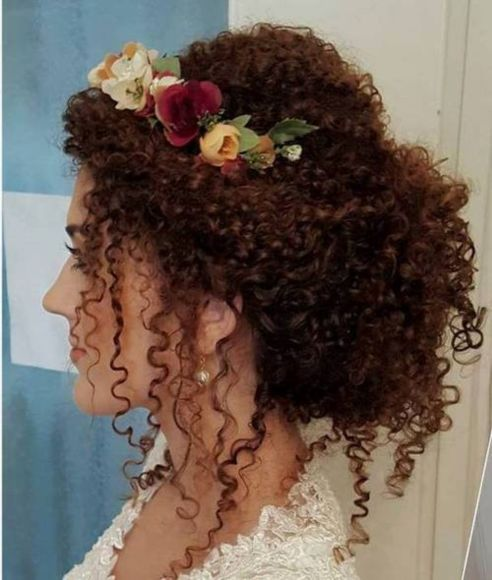 bridal loose updo for perm