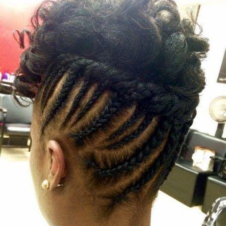 black updo with cornrows for shorter hair