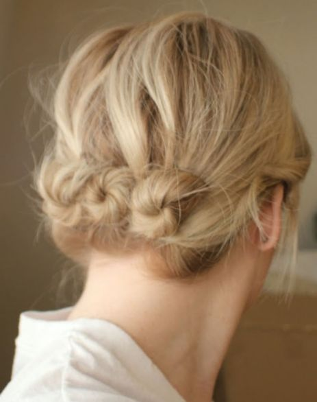 twisted buns updo for short hair