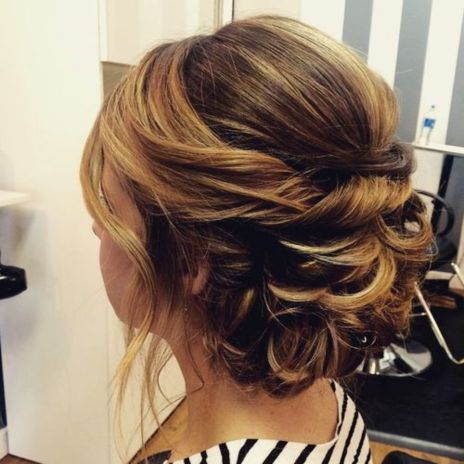 curly updo for brown hair with highlights