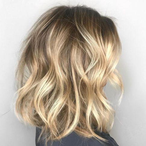 Tousled Wavy Blonde Lob