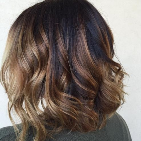Long Wavy Brown Balayage Bob