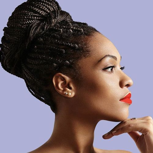 Crown Bun Box Braids Updo