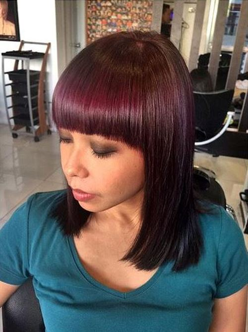long burgundy bob with blunt bangs