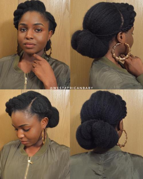 Elegant Low Bun Updo for Natural Hair