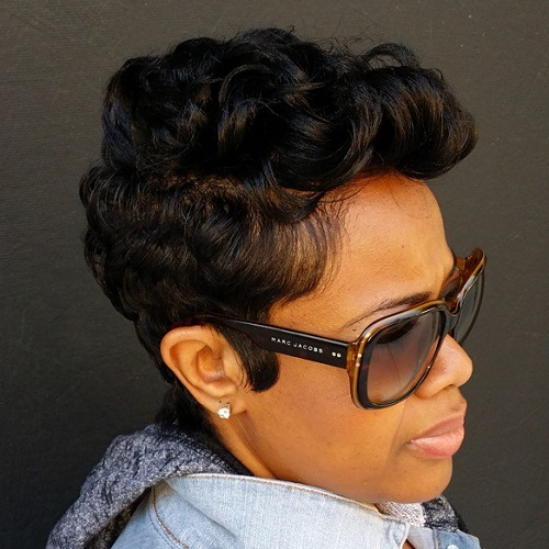 Black Curly Pixie