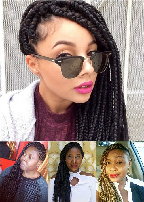side swept hairstyles for box braids