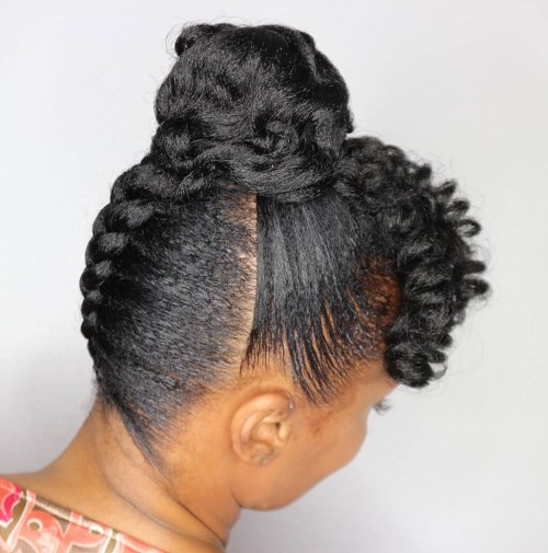 Sleek Protective Braid To Bun Updo