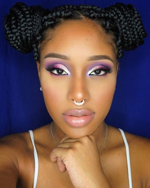 Pigtail Bun From Box Braids