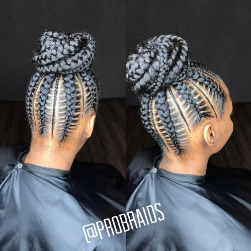 Nape-To-Crown Feed-In Braids