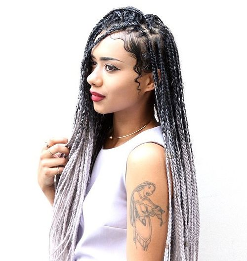 Black To Silver Ombre Box Braids