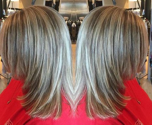 medium layered haircut with highlights