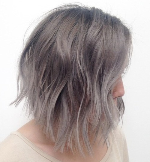 Silver Blonde Layered Lob